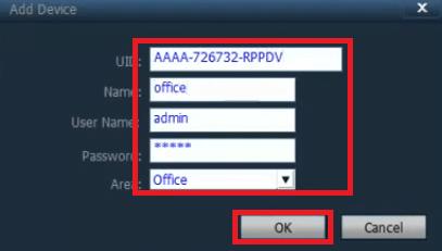 Enter credentials to add cameras