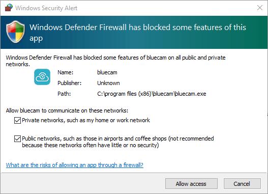 Provide the windows firewall access