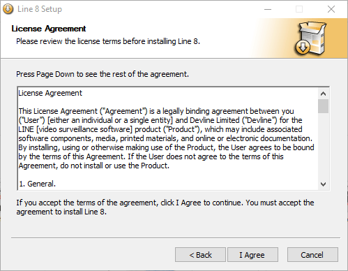 License and agreement of the application