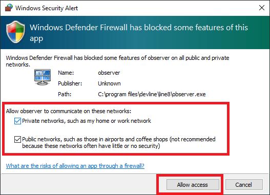 Windows firewall access to app