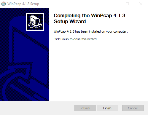 Completed installing WinPCap plugin