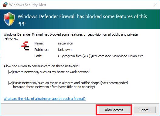 Grant firewall access