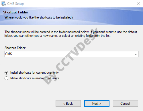 Select the users for the software and create start menu folder