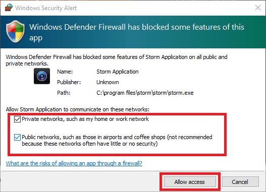 Grant Storm Cloud app firewall access