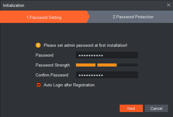 Create a password for login