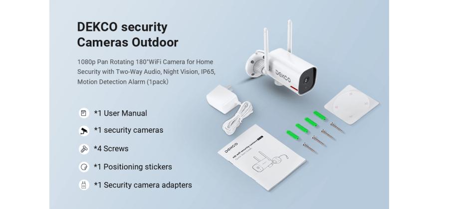 DEKCO 1080P Pan Rotating 180° Outdoor Security Camera 9