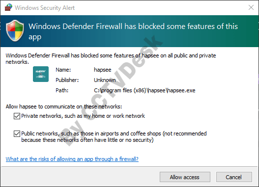 Allow access to the firewall of the PC