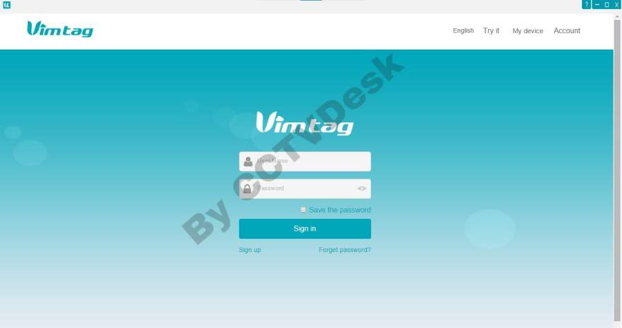 Log on to the Vimtag app