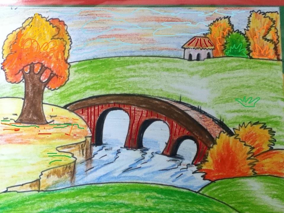 رسم منظر طبيعي باليد مناظر طبيعيه خلابه مرسومه باليد كيوت