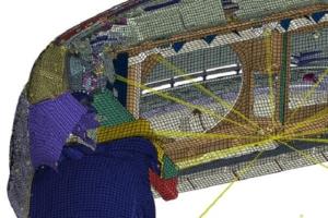 Mise en données RDM avec matériaux, conditions aux limites, contacts, liaisons, chargements.