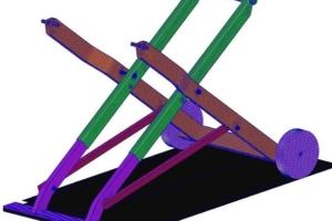 Maillage multi-pièces en surfacique fibre neutre avec éléments quadrangles et triangles.