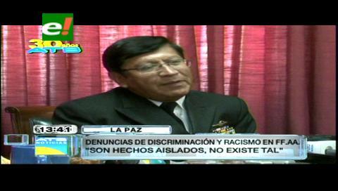 Comandante de las FFAA dice que no socapará el racismo