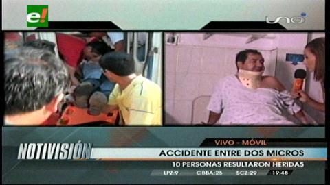 Santa Cruz: Choque entre dos micros deja 10 personas heridas