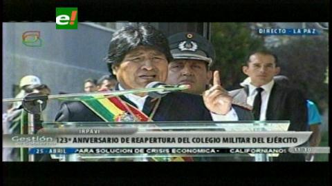 Aniversario del Colegio Militar: Evo Morales exige disciplina a las Fuerzas Armadas