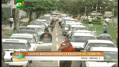 Transportistas marchan contra el taxímetro