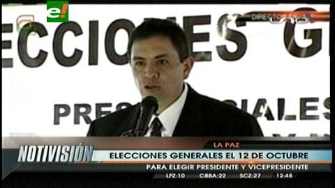 Elecciones generales en Bolivia serán el domingo 12 de Octubre
