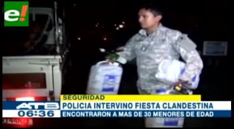 Policía intervino fiesta clandestina y detuvo a más de 30 menores ebrios