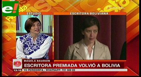 Escritora premiada Magela Baudoin volvió a Bolivia