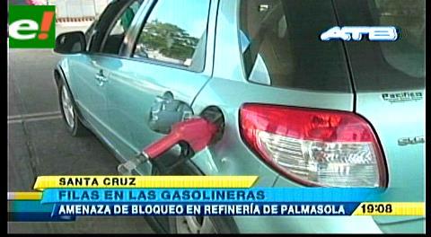 Largas filas en los surtidores por rumor de bloqueo en refinería de Palmasola
