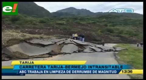 Reportan derrumbe de magnitud en la carretera Tarija – Bermejo