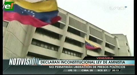 Venezuela declara inconstitucional la Ley de Amnistía
