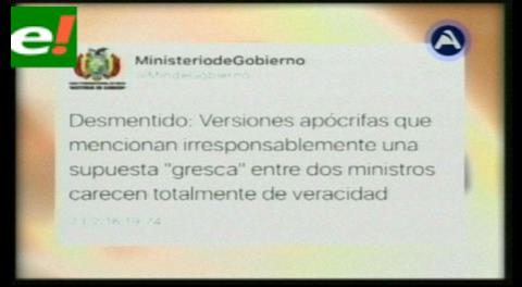 Ministerio de Gobierno desmiente gresca Quintana-Romero