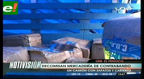 Decomisan camión con carteras y zapatos de contrabando