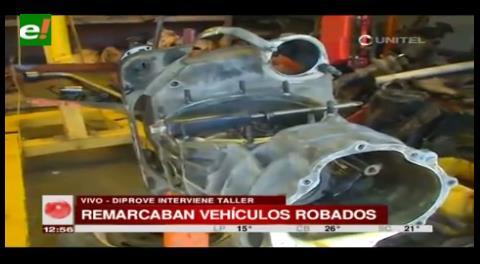 La Paz. Diprove interviene un taller donde remarcaban vehículos robados