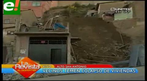 La Paz. Viviendas en riesgo por deslizamiento en Alto San Antonio
