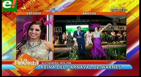 Alejandra Molina proclamada reina del carnaval de Warnes