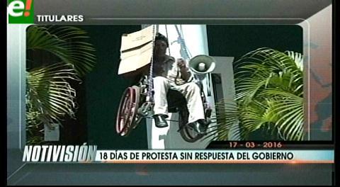 Titulares de TV: 18 días de protesta de los discapacitados sigue sin respuesta del Gobierno