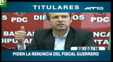 Titulares de TV: Tuto Quiroga pide la renuncia del Fiscal General