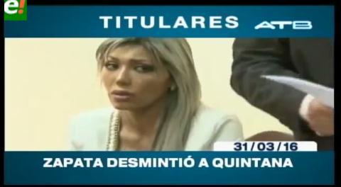 Titulares de TV: Zapata desmiente a Quintana y está dispuesta a mostrar pruebas