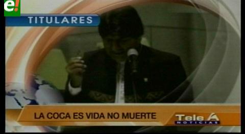 Titulares de TV: Evo Morales en Nueva York defendió el uso de la hoja de coca en Bolivia