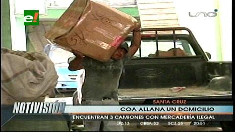 Santa Cruz: COA interviene domicilio con mercadería de contrabando