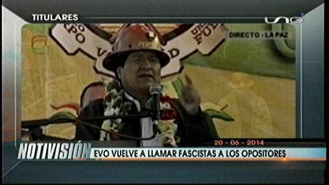 Titulares: Evo vuelve a llamar fascistas a los opositores en encuentro con los mineros cooperativistas