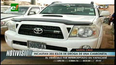 Yapacaní: Narcotraficante tenía 203 kilos de cocaína en una camioneta