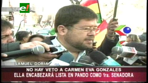 """Doria Medina: """"Carmen Eva Gonzáles no está vetada de las listas de candidatos"""""""
