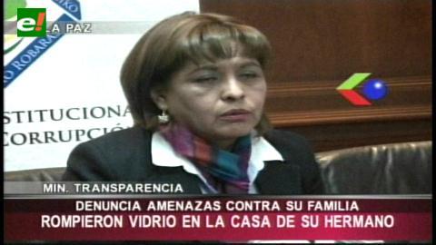 Ministra Suxo denuncia amenazas contra su familia
