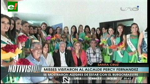 Percy Fernández recibió a las candidatas al Miss Bolivia