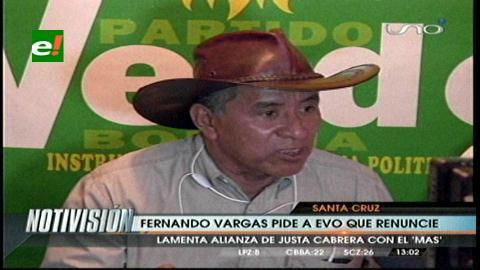 Fernando Vargas pide la renuncia de Evo Morales