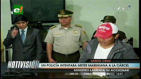 Detienen a policía que intentaba meter droga a Palmasola