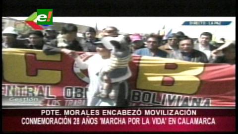 Evo Morales participó de la caminata a 28 años de la 'Marcha por la Vida'