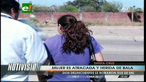 Atracan y hieren de bala a una mujer a plena luz del día en Santa Cruz