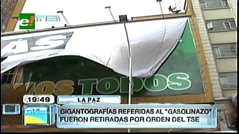La Paz: TSE retira gigantografía de UD, candidatos protestan