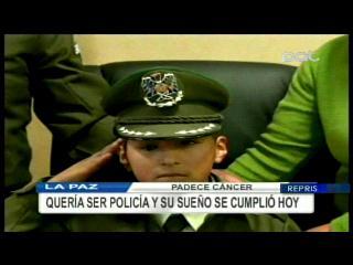 Niño que padece cáncer cumple su sueño de ser policía