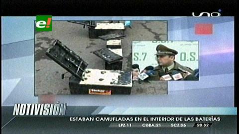 Chile: Decomisan 104 kilos de cocaína escondidos en baterías, dos bolivianos detenidos