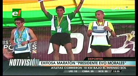 Paceños Rolando Pillco y Salomé Mendoza ganan carrera 10K 'Presidente Evo' en Santa Cruz