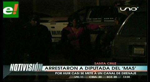 Policía arresta a diputada del MAS, estaba supuestamente en estado de ebriedad