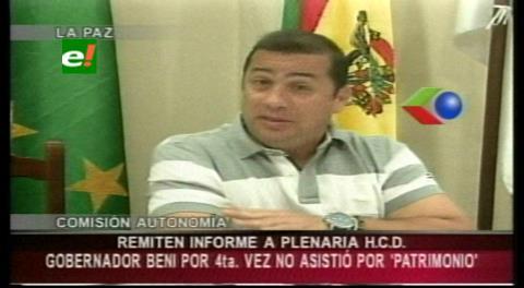 Gobernador de Beni no se presenta al Legislativo y opositores piden sanciones